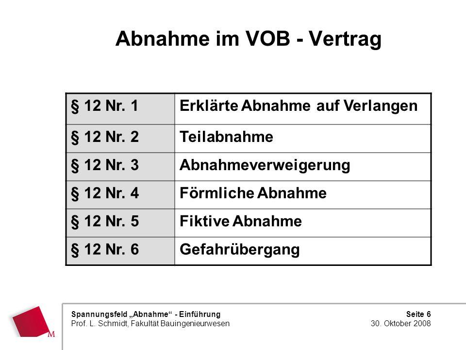 Seite 6 30. Oktober 2008 Spannungsfeld Abnahme - Einführung Prof. L. Schmidt, Fakultät Bauingenieurwesen Abnahme im VOB - Vertrag § 12 Nr. 1Erklärte A
