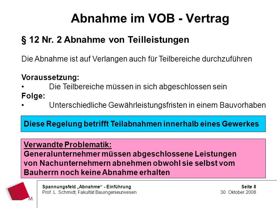 Seite 8 30. Oktober 2008 Spannungsfeld Abnahme - Einführung Prof. L. Schmidt, Fakultät Bauingenieurwesen Abnahme im VOB - Vertrag § 12 Nr. 2 Abnahme v