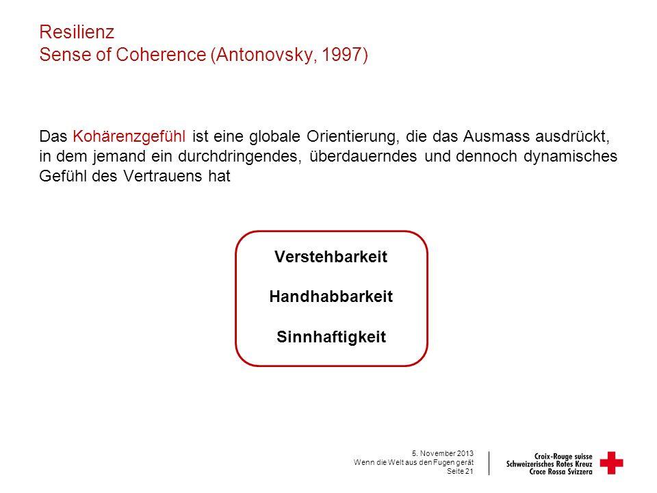 Resilienz Sense of Coherence (Antonovsky, 1997) Das Kohärenzgefühl ist eine globale Orientierung, die das Ausmass ausdrückt, in dem jemand ein durchdr
