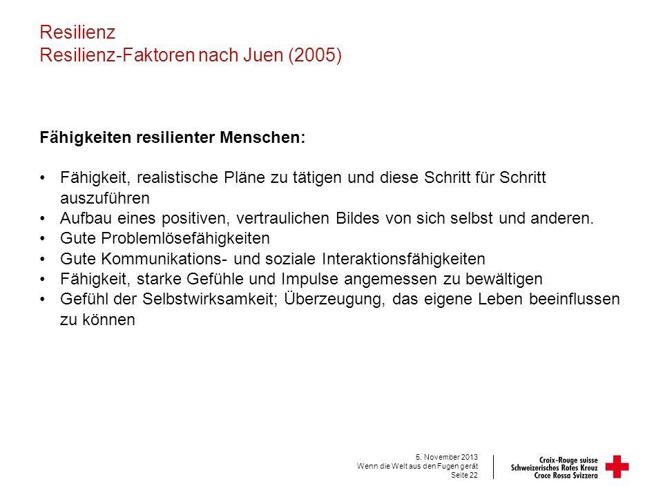Resilienz Resilienz-Faktoren nach Juen (2005) Fähigkeiten resilienter Menschen: Fähigkeit, realistische Pläne zu tätigen und diese Schritt für Schritt