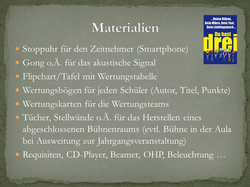 Stoppuhr für den Zeitnehmer (Smartphone) Gong o.Ä. für das akustische Signal Flipchart/Tafel mit Wertungstabelle Wertungsbögen für jeden Schüler (Auto
