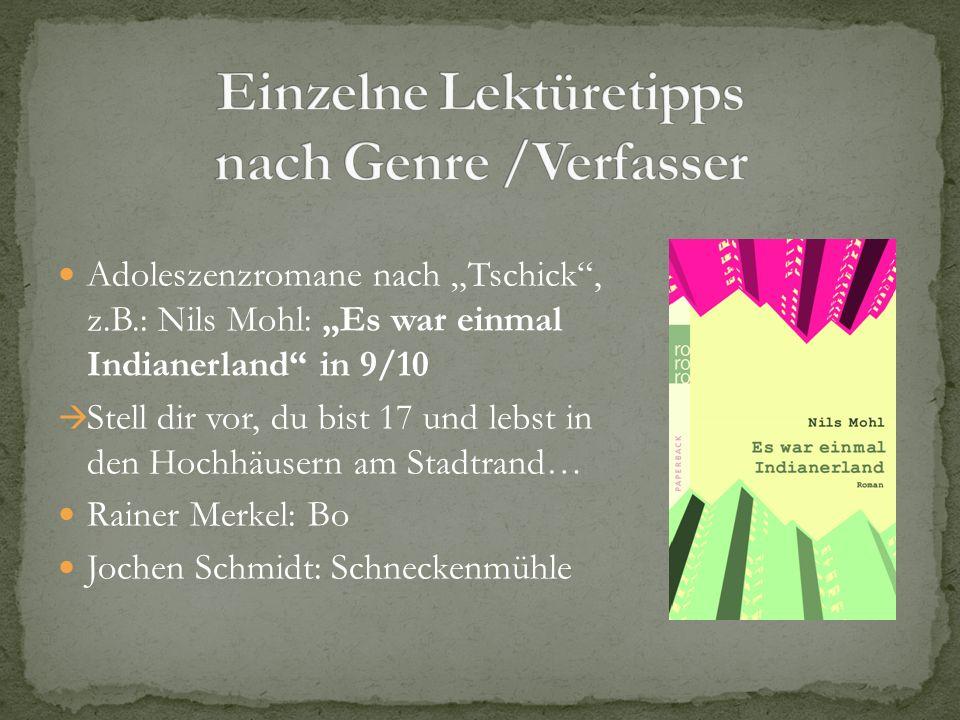 Adoleszenzromane nach Tschick, z.B.: Nils Mohl: Es war einmal Indianerland in 9/10 Stell dir vor, du bist 17 und lebst in den Hochhäusern am Stadtrand
