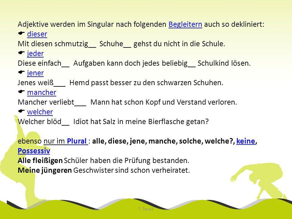 Adjektive werden im Singular nach folgenden Begleitern auch so dekliniert: dieser Mit diesen schmutzig__ Schuhe__ gehst du nicht in die Schule. jeder