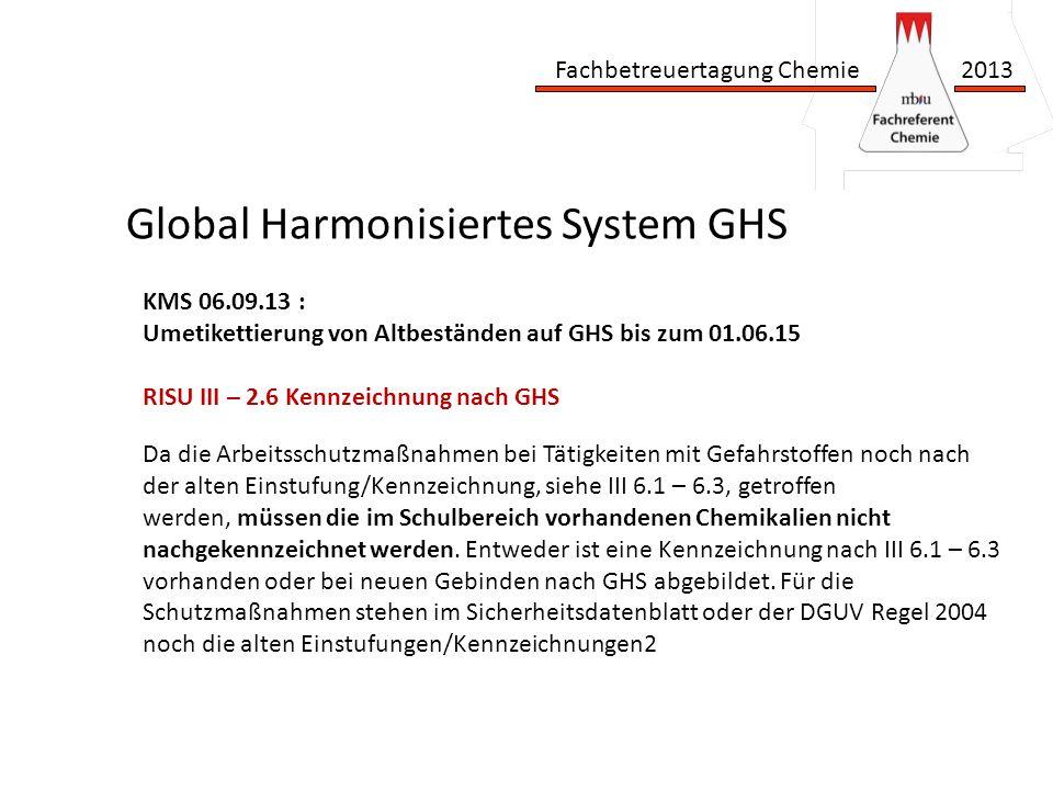 Fachbetreuertagung Chemie 2013 Global Harmonisiertes System GHS Da die Arbeitsschutzmaßnahmen bei Tätigkeiten mit Gefahrstoffen noch nach der alten Einstufung/Kennzeichnung, siehe III 6.1 – 6.3, getroffen werden, müssen die im Schulbereich vorhandenen Chemikalien nicht nachgekennzeichnet werden.