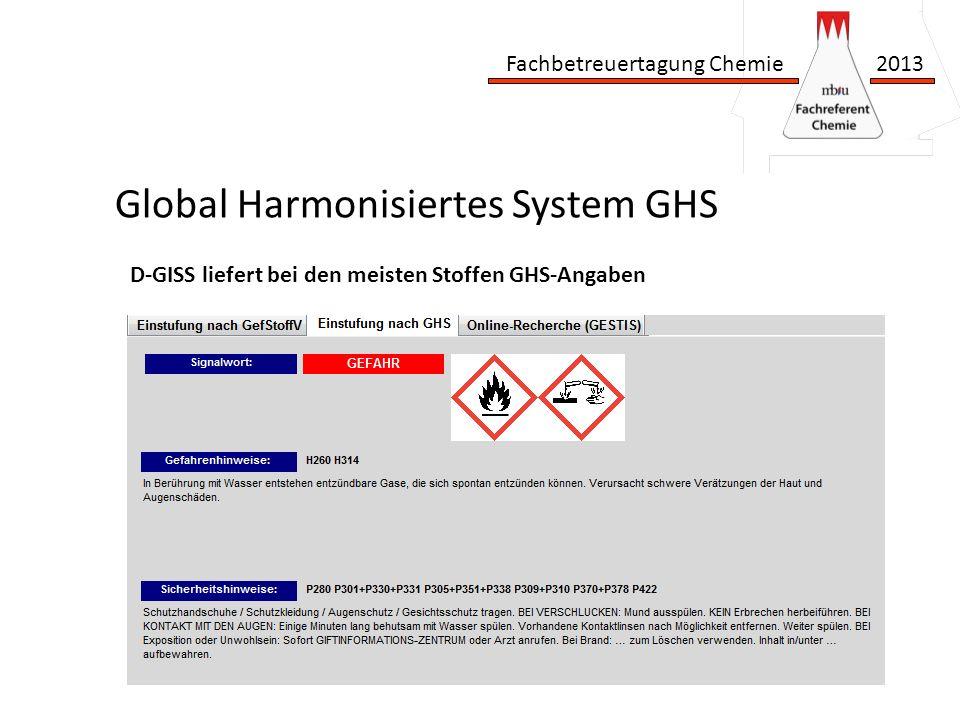 Fachbetreuertagung Chemie 2013 Global Harmonisiertes System GHS D-GISS liefert bei den meisten Stoffen GHS-Angaben