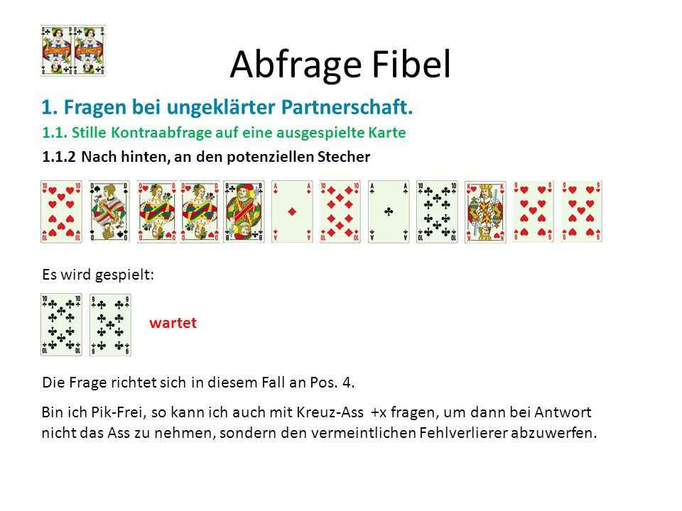 Abfrage Fibel 1. Fragen bei ungeklärter Partnerschaft. 1.1. Stille Kontraabfrage auf eine ausgespielte Karte 1.1.2 Nach hinten, an den potenziellen St