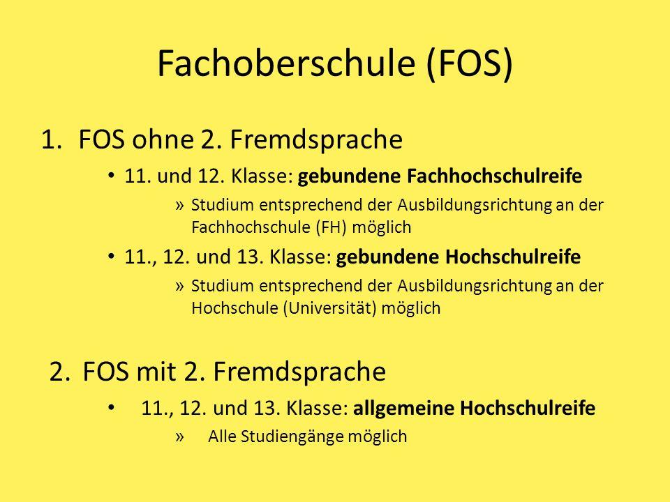 Fachoberschule (FOS) 1.FOS ohne 2.Fremdsprache 11.