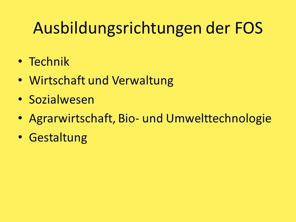 Ausbildungsrichtungen der FOS Technik Wirtschaft und Verwaltung Sozialwesen Agrarwirtschaft, Bio- und Umwelttechnologie Gestaltung