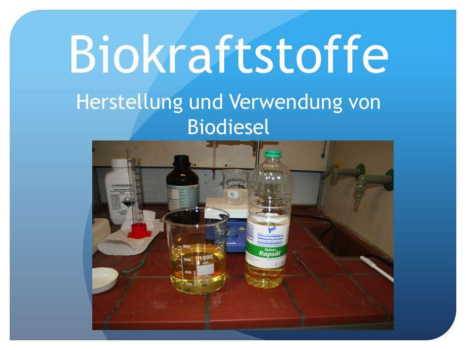Inhalt Herstellung von Biodiesel anhand eines Experiments Was ist Biodiesel chemisch und was passiert während der Herstellung.