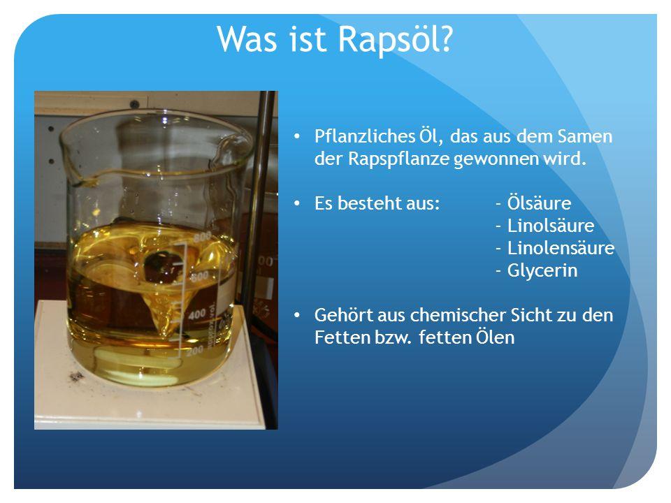 Was ist Rapsöl? Pflanzliches Öl, das aus dem Samen der Rapspflanze gewonnen wird. Es besteht aus:- Ölsäure - Linolsäure - Linolensäure - Glycerin Gehö