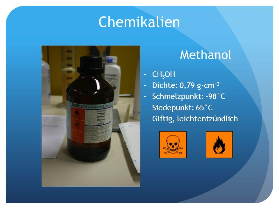 Chemikalien Methanol -CH 3 OH -Dichte: 0,79 g·cm 3 -Schmelzpunkt: -98°C -Siedepunkt: 65°C -Giftig, leichtentzündlich