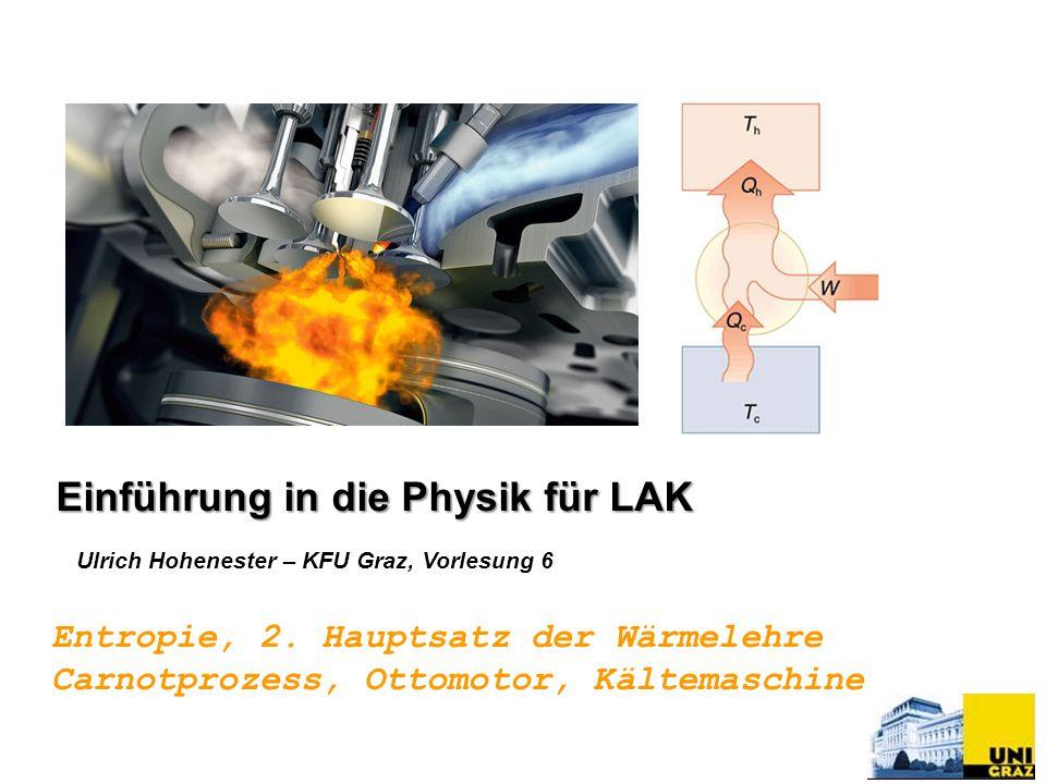 Ulrich Hohenester – KFU Graz, Vorlesung 6 Einführung in die Physik für LAK Entropie, 2. Hauptsatz der Wärmelehre Carnotprozess, Ottomotor, Kältemaschi