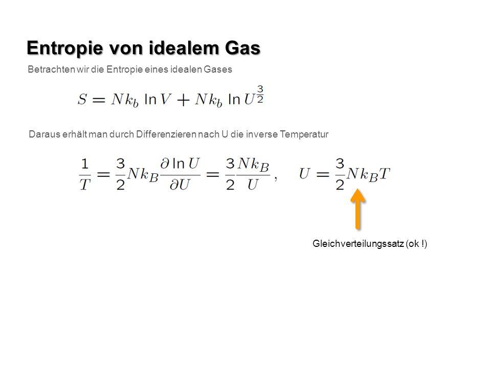 Entropie von idealem Gas Betrachten wir die Entropie eines idealen Gases Daraus erhält man durch Differenzieren nach U die inverse Temperatur Gleichve