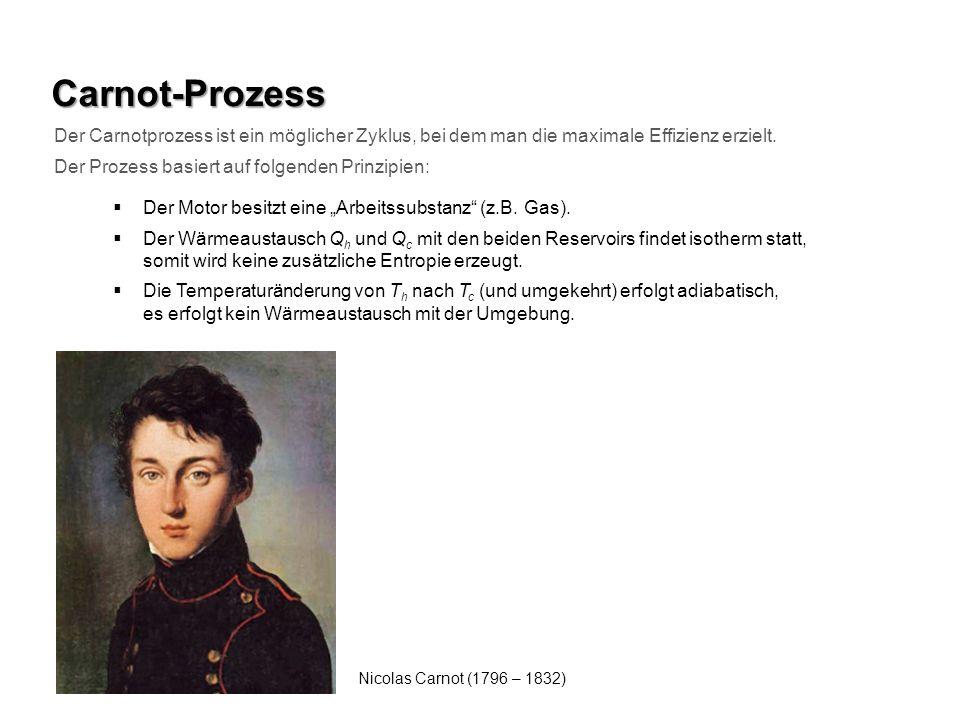Carnot-Prozess Der Carnotprozess ist ein möglicher Zyklus, bei dem man die maximale Effizienz erzielt. Der Prozess basiert auf folgenden Prinzipien: D