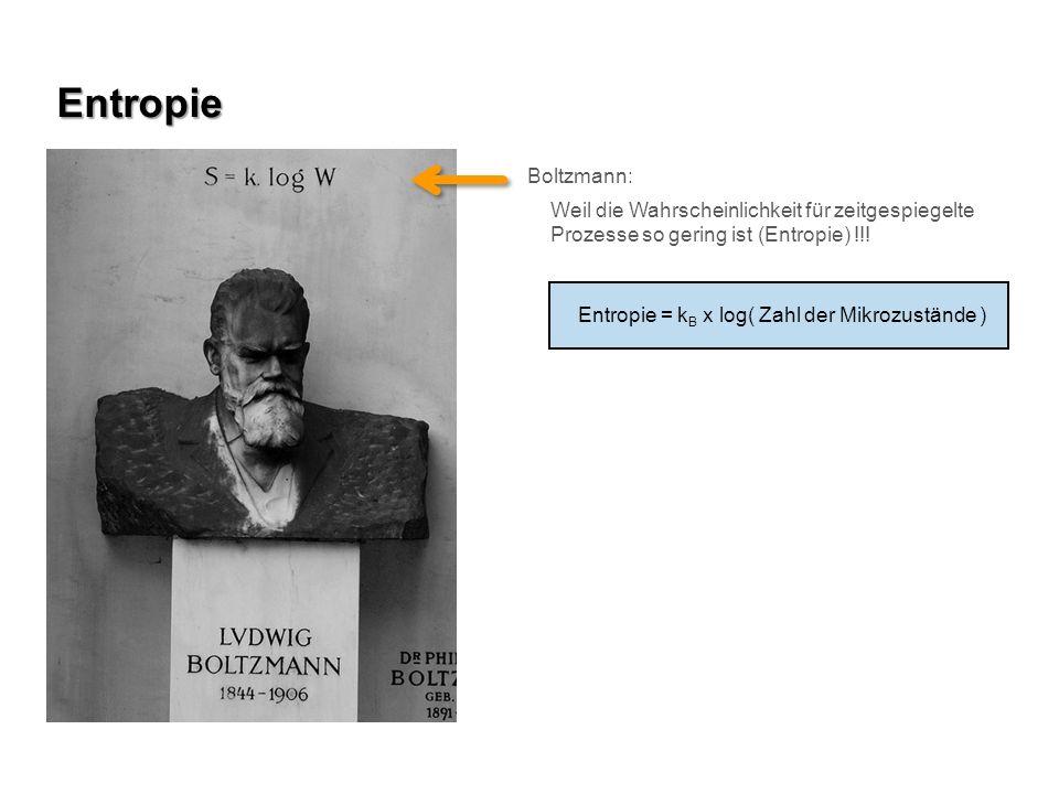 Boltzmann: Weil die Wahrscheinlichkeit für zeitgespiegelte Prozesse so gering ist (Entropie) !!! Entropie = k B x log( Zahl der Mikrozustände ) Entrop