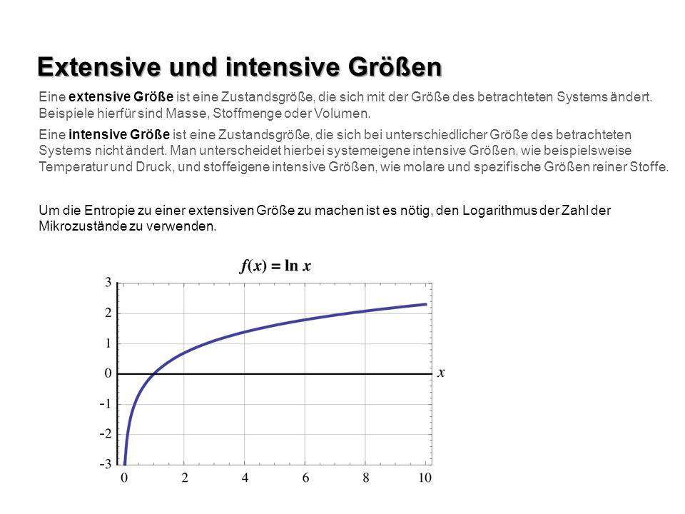 Extensive und intensive Größen Eine extensive Größe ist eine Zustandsgröße, die sich mit der Größe des betrachteten Systems ändert. Beispiele hierfür
