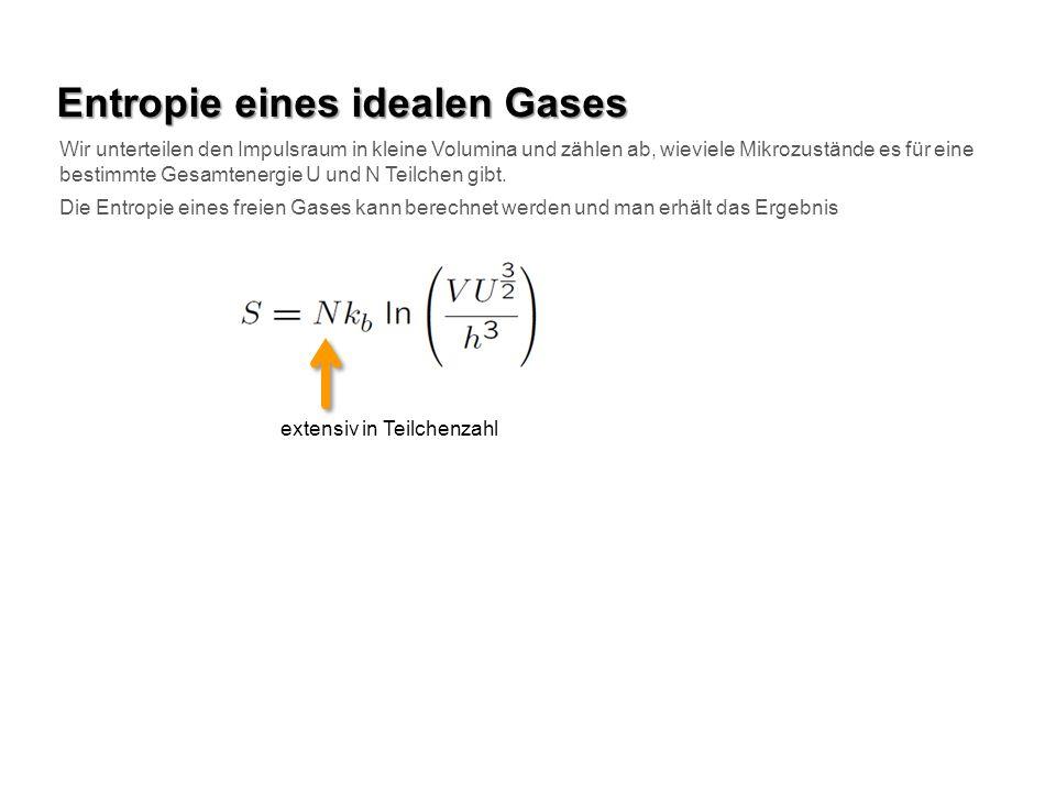 Entropie eines idealen Gases Wir unterteilen den Impulsraum in kleine Volumina und zählen ab, wieviele Mikrozustände es für eine bestimmte Gesamtenerg