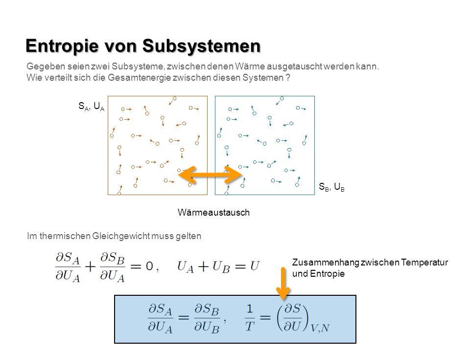 Entropie von idealem Gas Betrachten wir die Entropie eines idealen Gases Daraus erhält man durch Differenzieren nach U die inverse Temperatur Gleichverteilungssatz (ok !)