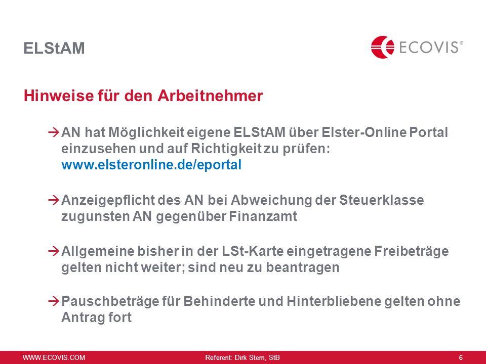 WWW.ECOVIS.COM Referent: Dirk Stern, StB 5 ELStAM Verfahren während des Einführungszeitraums Authentifizierung des AG im Elster-Online-Portal Angabe W