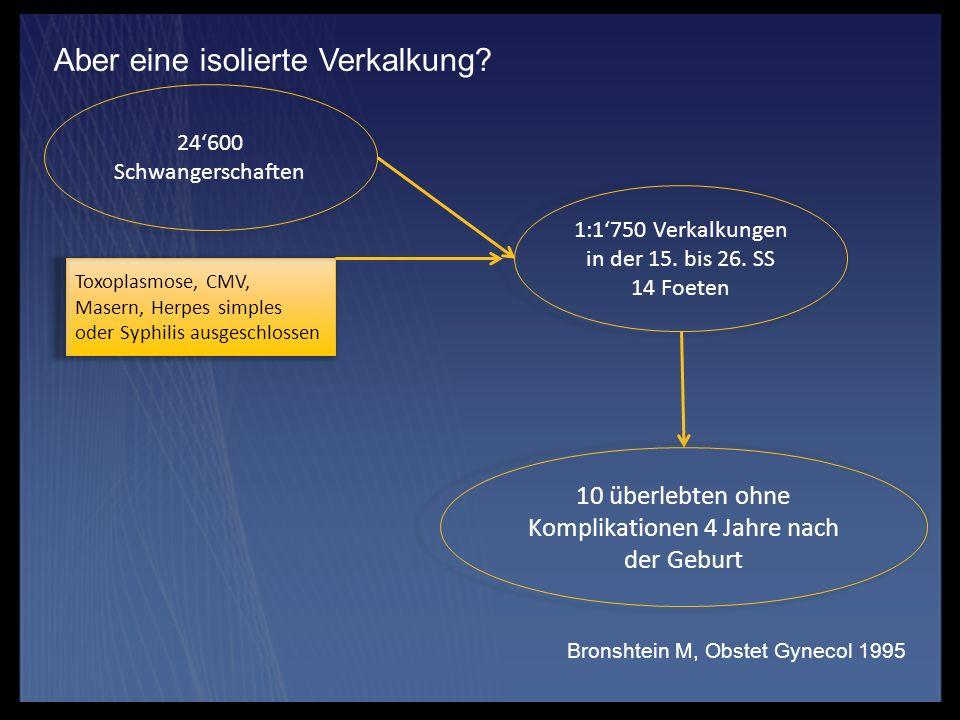 Aber eine isolierte Verkalkung? Bronshtein M, Obstet Gynecol 1995 24600 Schwangerschaften 1:1750 Verkalkungen in der 15. bis 26. SS 14 Foeten Toxoplas