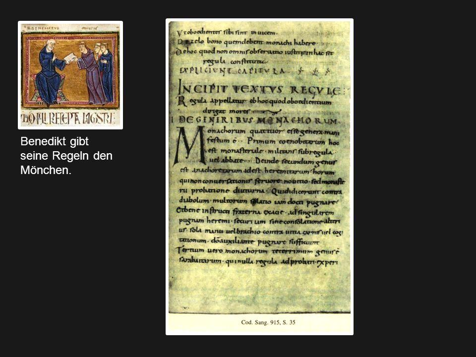Benedikt gibt seine Regeln den Mönchen.