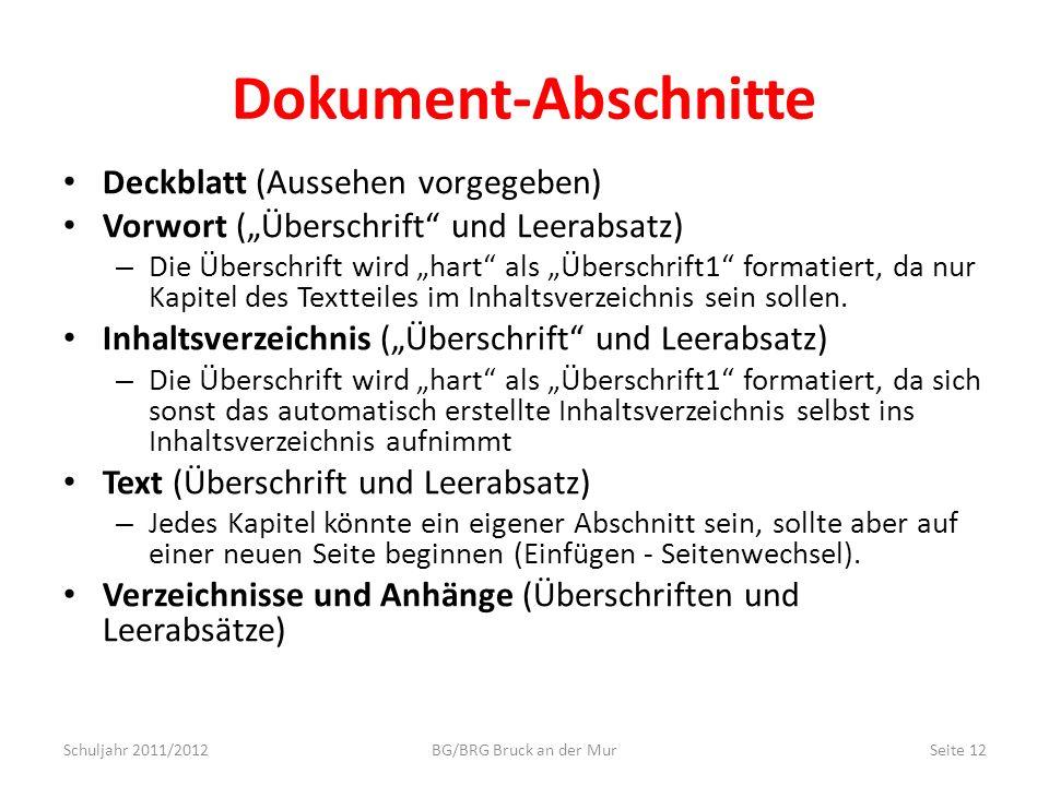 Dokument-Abschnitte Deckblatt (Aussehen vorgegeben) Vorwort (Überschrift und Leerabsatz) – Die Überschrift wird hart als Überschrift1 formatiert, da n
