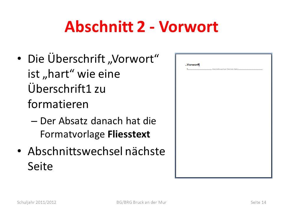 Abschnitt 2 - Vorwort Die Überschrift Vorwort ist hart wie eine Überschrift1 zu formatieren – Der Absatz danach hat die Formatvorlage Fliesstext Absch