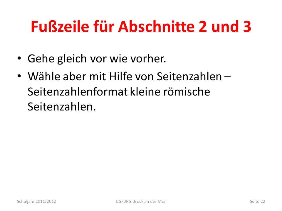 Fußzeile für Abschnitte 2 und 3 Gehe gleich vor wie vorher. Wähle aber mit Hilfe von Seitenzahlen – Seitenzahlenformat kleine römische Seitenzahlen. S