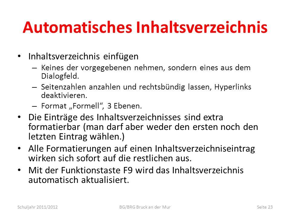 Automatisches Inhaltsverzeichnis Inhaltsverzeichnis einfügen – Keines der vorgegebenen nehmen, sondern eines aus dem Dialogfeld. – Seitenzahlen anzahl