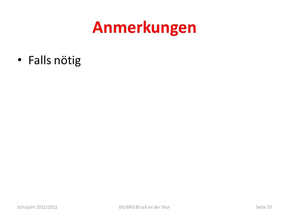 Anmerkungen Falls nötig Schuljahr 2011/2012BG/BRG Bruck an der MurSeite 33