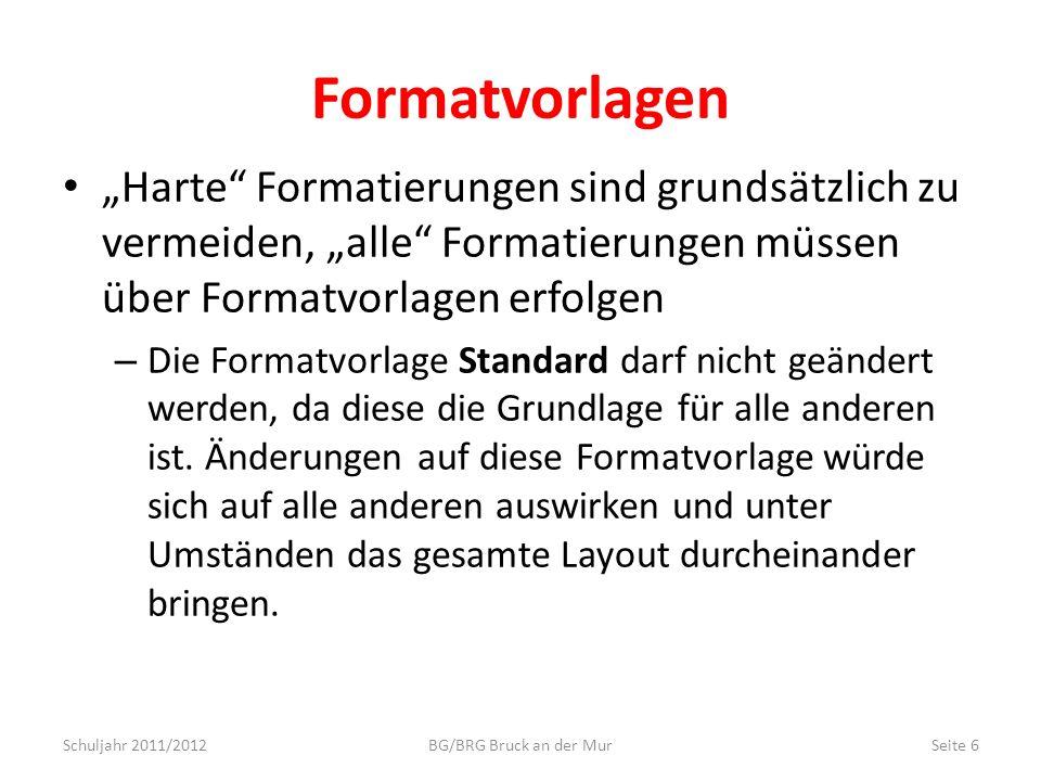 Formatvorlagen Harte Formatierungen sind grundsätzlich zu vermeiden, alle Formatierungen müssen über Formatvorlagen erfolgen – Die Formatvorlage Stand