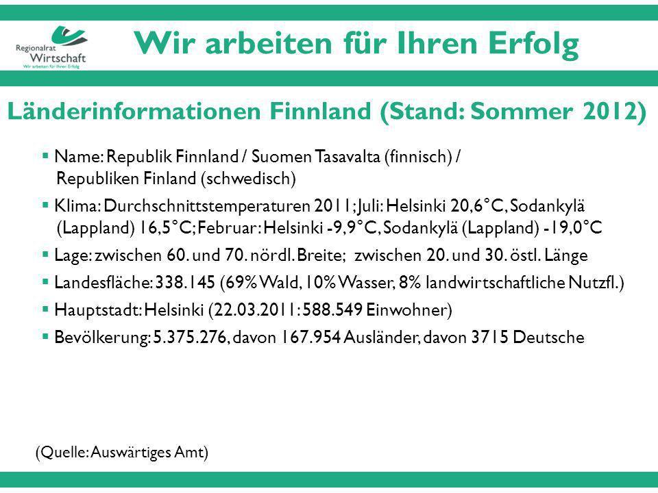 Wir arbeiten für Ihren Erfolg Länderinformationen Finnland (Stand: Sommer 2012) Name: Republik Finnland / Suomen Tasavalta (finnisch) / Republiken Finland (schwedisch) Klima: Durchschnittstemperaturen 2011; Juli: Helsinki 20,6°C, Sodankylä (Lappland) 16,5°C; Februar: Helsinki -9,9°C, Sodankylä (Lappland) -19,0°C Lage: zwischen 60.