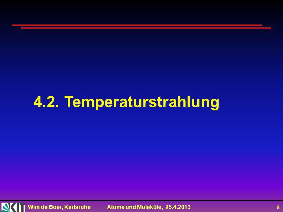 Wim de Boer, Karlsruhe Atome und Moleküle, 25.4.2013 28 WMAP: ein Fernsehschüssel zur Beobachtung des frühen Universums WMAP: 1,5 Millionen km von der Erde entfernt (3 Monate Reisezeit, Beobachtung täglich seit 2001) ©NASA Science Team