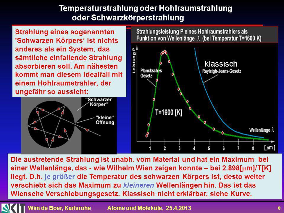 Wim de Boer, Karlsruhe Atome und Moleküle, 25.4.2013 19 Temperatur unseres Universums aus der kosmischen Hintergrundstrahlung T = 2.728 ± 0.004 K Dichte der Photonen 412 pro cm 3 Wellenlänge der Photonen ca.