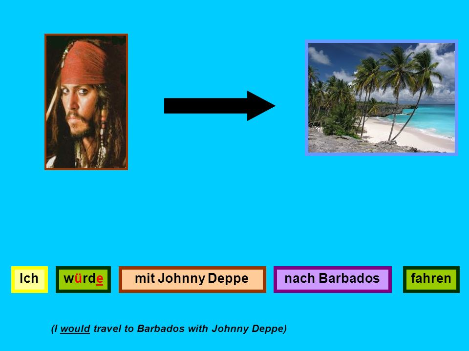 Ichwürdenach Barbadosfahrenmit Johnny Deppe (I would travel to Barbados with Johnny Deppe)