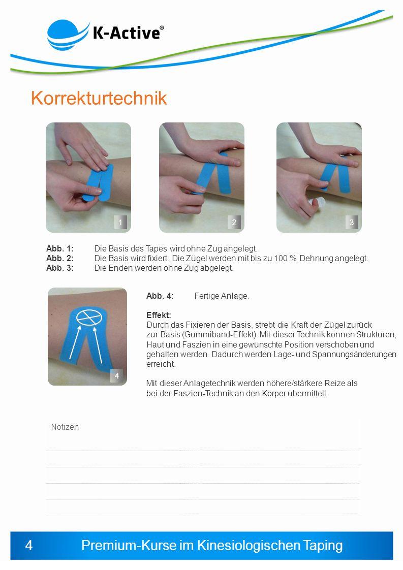 Premium-Kurse im Kinesiologischen Taping Schritt 4 Kleben einer Faszien-Technik (Entlastung nach cranial) Die Basis wird aufgeklebt, nicht fixiert und über ein Jiggeling nach oben bewegt.