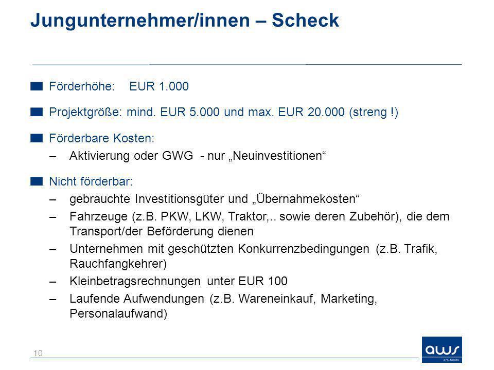 Jungunternehmer/innen – Scheck Förderhöhe: EUR 1.000 Projektgröße: mind. EUR 5.000 und max. EUR 20.000 (streng !) Förderbare Kosten: –Aktivierung oder