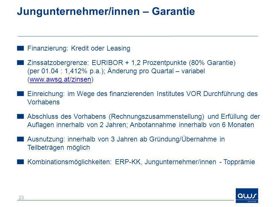 Jungunternehmer/innen – Garantie Finanzierung: Kredit oder Leasing Zinssatzobergrenze: EURIBOR + 1,2 Prozentpunkte (80% Garantie) (per 01.04 : 1,412%
