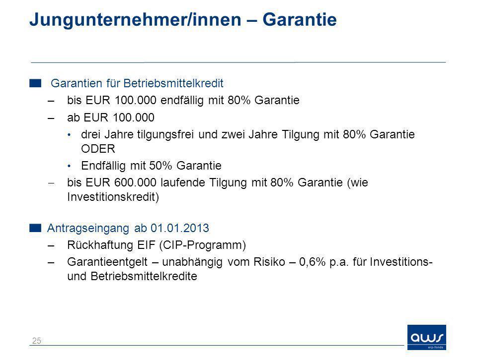 Jungunternehmer/innen – Garantie Garantien für Betriebsmittelkredit –bis EUR 100.000 endfällig mit 80% Garantie –ab EUR 100.000 drei Jahre tilgungsfre