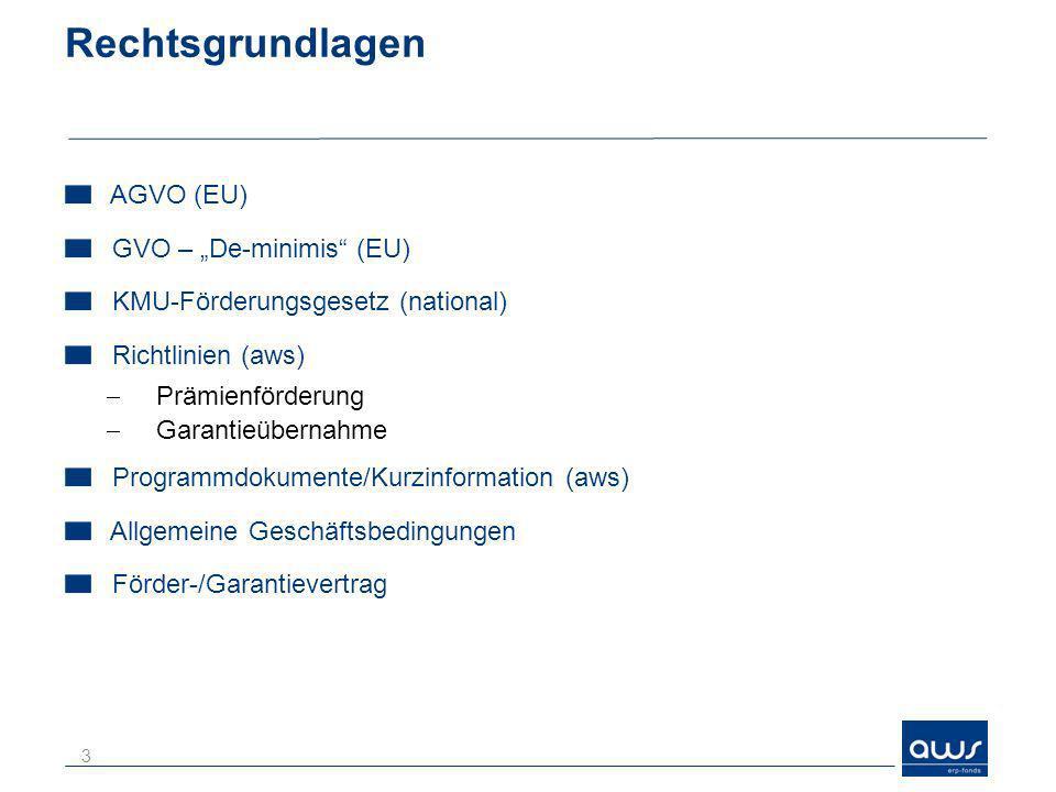 Rechtsgrundlagen AGVO (EU) GVO – De-minimis (EU) KMU-Förderungsgesetz (national) Richtlinien (aws) Prämienförderung Garantieübernahme Programmdokument