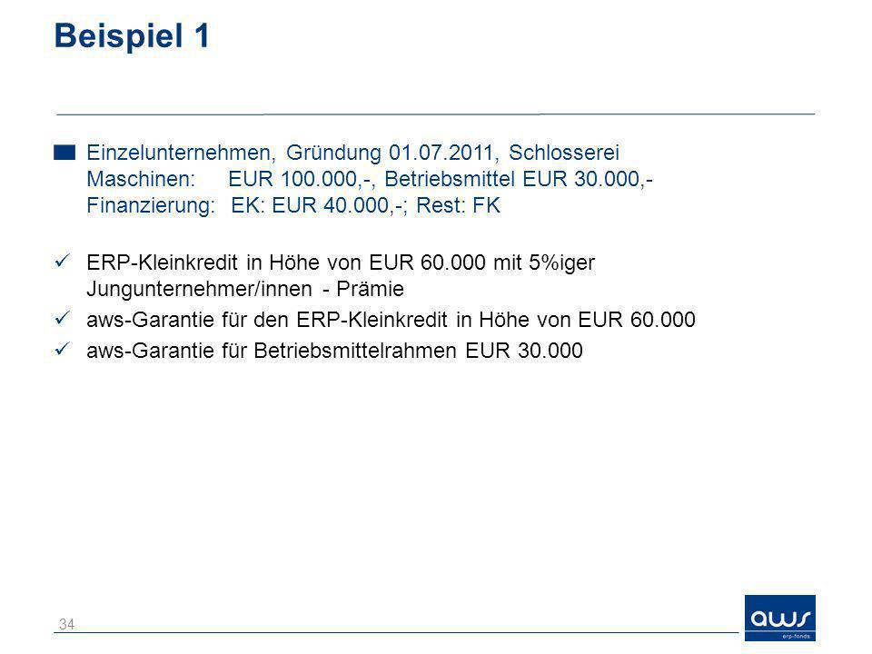 Beispiel 1 Einzelunternehmen, Gründung 01.07.2011, Schlosserei Maschinen:EUR 100.000,-, Betriebsmittel EUR 30.000,- Finanzierung: EK: EUR 40.000,-; Re