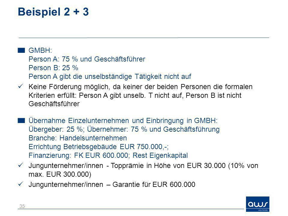 Beispiel 2 + 3 GMBH: Person A: 75 % und Geschäftsführer Person B: 25 % Person A gibt die unselbständige Tätigkeit nicht auf Keine Förderung möglich, d