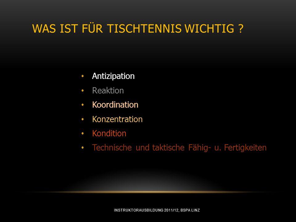 WAS IST FÜR TISCHTENNIS WICHTIG ? Antizipation Reaktion Koordination Konzentration Kondition Technische und taktische Fähig- u. Fertigkeiten INSTRUKTO