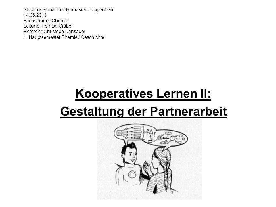 Fachseminar Chemie Referat Kooperatives Lernen II: Gestaltung der Partnerarbeit 32