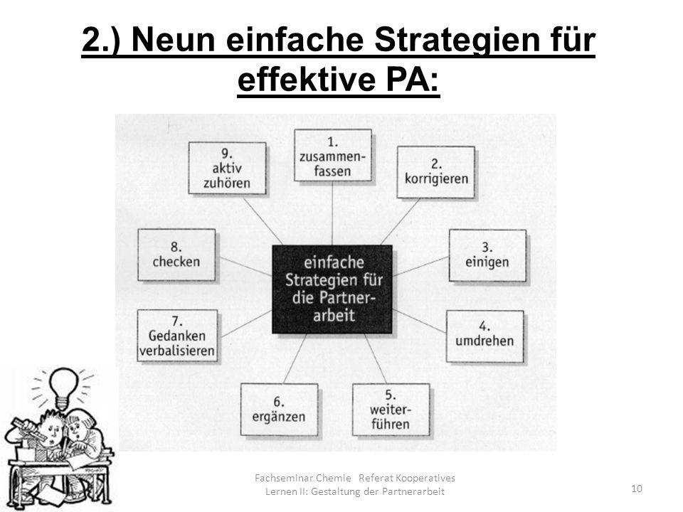 Fachseminar Chemie Referat Kooperatives Lernen II: Gestaltung der Partnerarbeit 10 2.) Neun einfache Strategien für effektive PA: