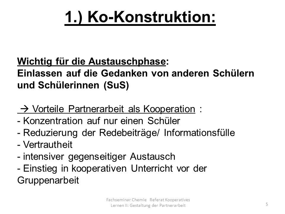 Fachseminar Chemie Referat Kooperatives Lernen II: Gestaltung der Partnerarbeit 26