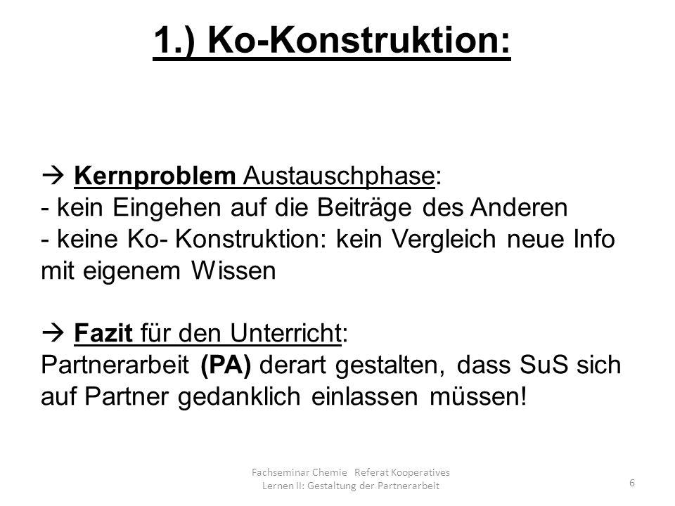Fachseminar Chemie Referat Kooperatives Lernen II: Gestaltung der Partnerarbeit 37