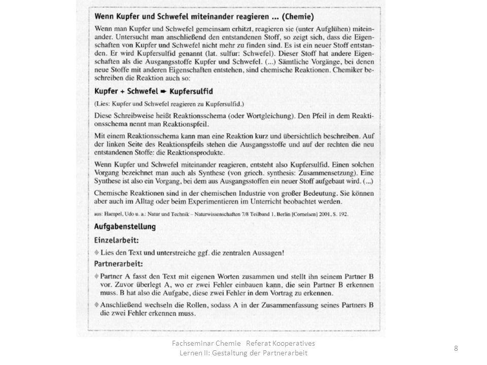 Fachseminar Chemie Referat Kooperatives Lernen II: Gestaltung der Partnerarbeit 8
