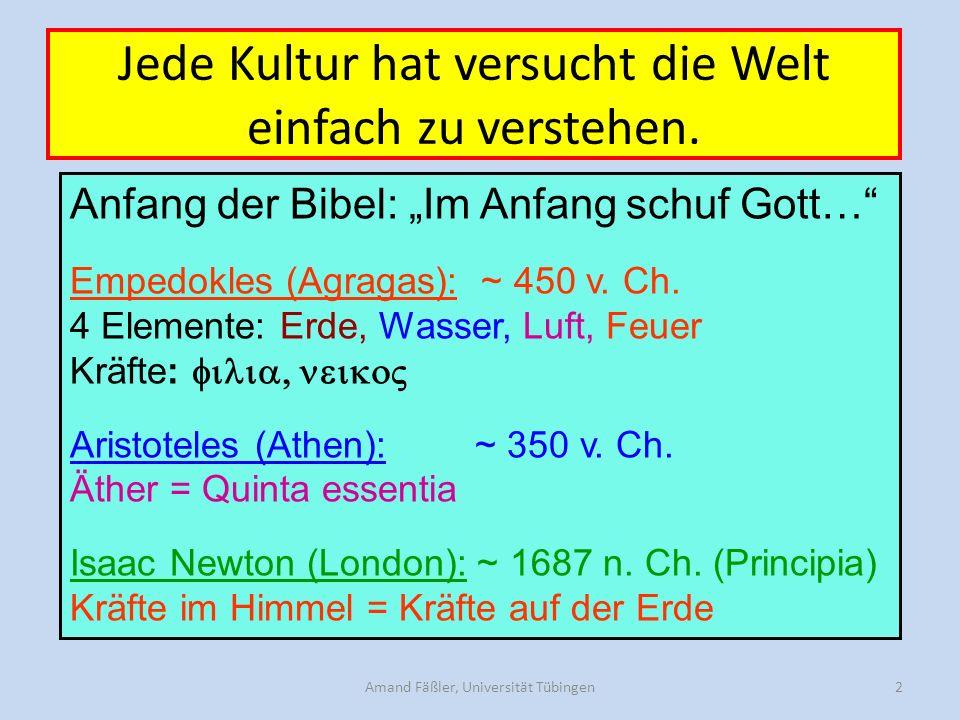 Amand Fäßler, Universität Tübingen2 Jede Kultur hat versucht die Welt einfach zu verstehen.