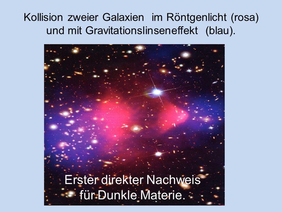 2006 : Kollision eines kleinen und eines großen Galaxienhaufens im Ablauf von 2 Millionen Jahren von links nach rechts Dunkle u. helle MaterieHelle Ma